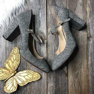 Louise et Cie Mary Jane Heels 9.5 Gray TweedFabric